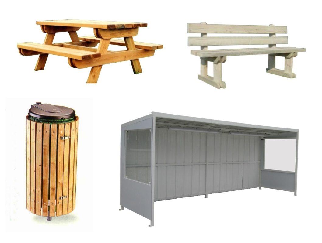 mobilier urbain, banc et tables